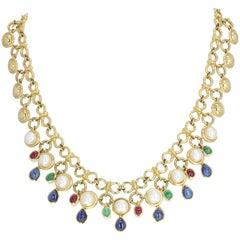 Cabochon Ruby Emerald Sapphire Pearl Gold Collarette Necklace