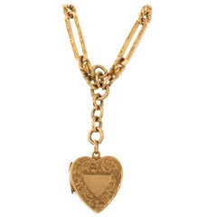 Victorian 9 Carat Yellow Gold Fancy Albert Chain with Heart Locket