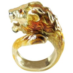 18 Karat Gold Italian Handcrafted Lion's Head Ring