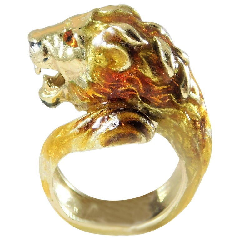2a37409af 18 Karat Gold Italian Handcrafted Lion S Head Ring At 1stdibs
