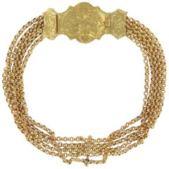 French Napoleon III 18 Karat Yellow Gold Chain Bracelet and Chiseled Clasp