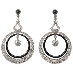French Art Deco Platinum Diamond and Onyx Earrings