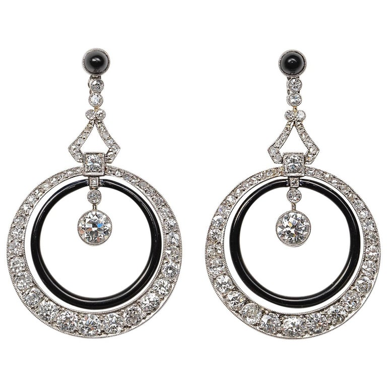 French Art Deco Platinum Diamond and Onyx Earrings For Sale