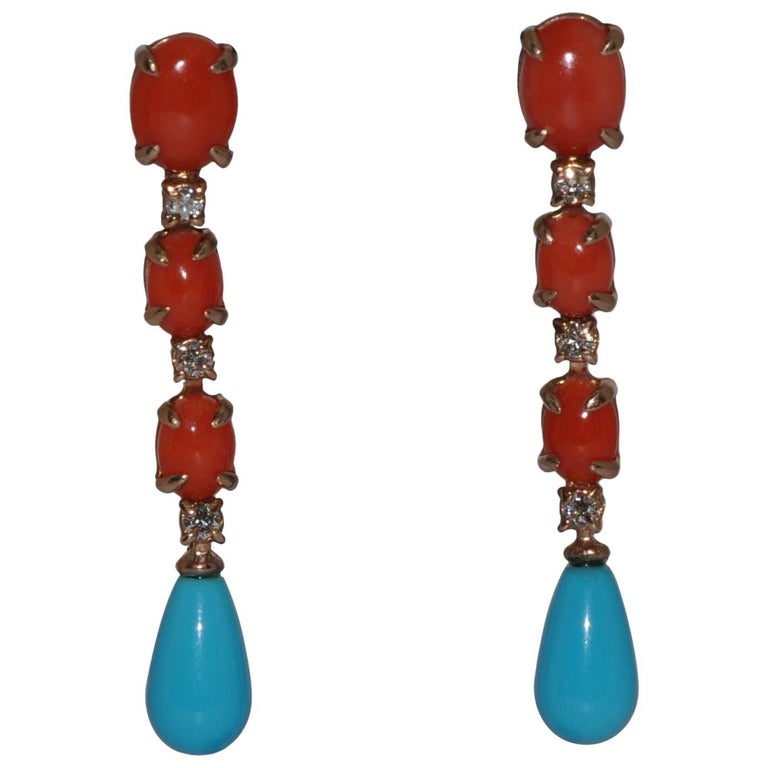 Coral, Turquoise and White Diamonds Yellow Gold Earrings