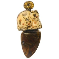 Sterling Silver Amy K. Russell Carved, Etched Bone Cats, Agate, Citrine Brooch
