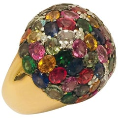 18 Karat Dramatic Dome Ring Multi-Color Sapphires and Diamonds
