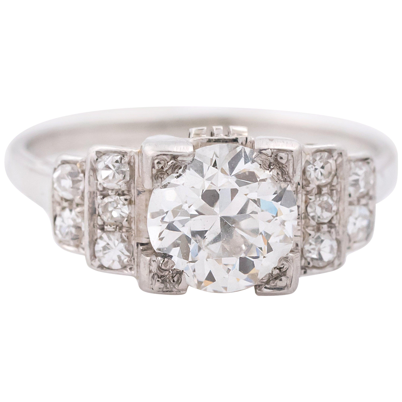 1930s 1.20 Carat Old European Diamond 18 Karat White Gold Engagement Ring