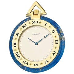 Cartier Yellow Gold Lapis Lazuli Manual Pocket Watch