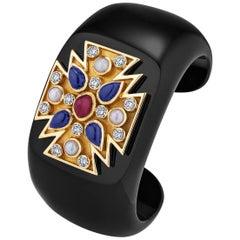 Verdura Black Jade Diamond Ruby Sapphire Pearl Gold Maltese Cuff