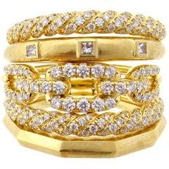 David Yurman Stax Five-Row Diamond Ring