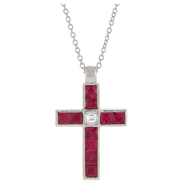 Vintage French Cut Ruby Diamond Cross Pendant Necklace