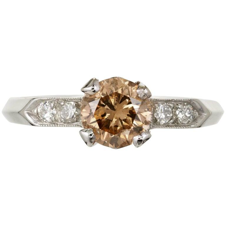 GIA Certified .96 Carat Fancy Yellow Brown Diamond Platinum Engagement Ring