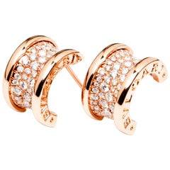 Bulgari Bvlgari B.Zero1 Earrings 18 Karat Rose Gold and 1.12 Carat Diamonds
