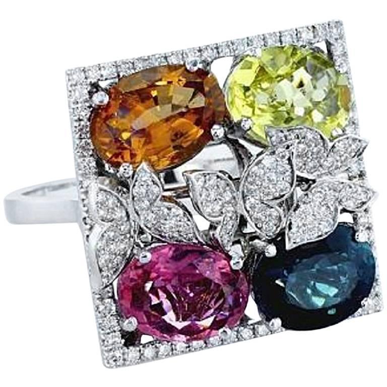 Multi-Color Diamond and Tourmaline Ring