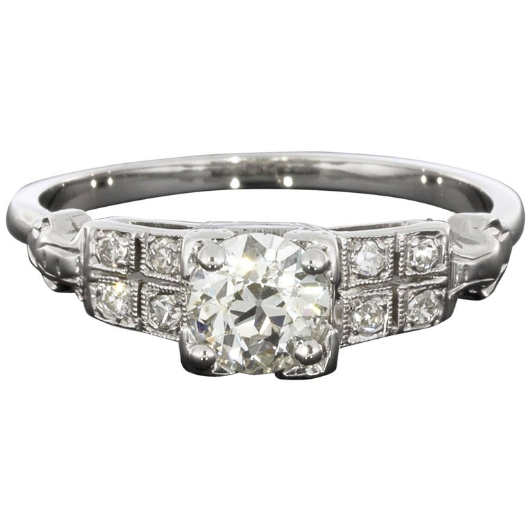 Platinum 0.64 Carat Old European Diamond Engagement Ring