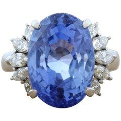 14.95 Carat GIA Blue Sapphire No-Heat Diamond Platinum Cocktail Ring