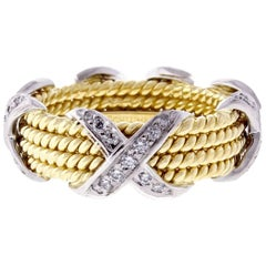 Tiffany & Co. Schlumberger Rope Four-Row Diamond X Ring