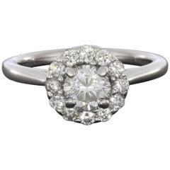 Gabriel & Co. White Gold .98 Carat Round Diamond Halo Engagement Ring