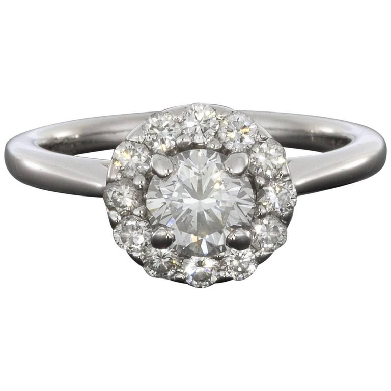 f003e05d10af9 Gabriel & Co. White Gold .98 Carat Round Diamond Halo Engagement Ring
