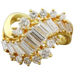 Diamond Spiral Gold Cascade Ring
