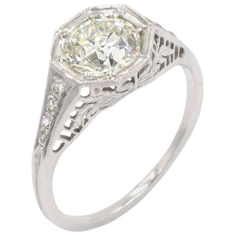 Edwardian 1.25 Carat Old European Cut Diamond and Platinum Ring, circa 1910