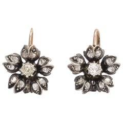 Early Victorian Old Mine and Rose Cut Diamond Flower Earrings