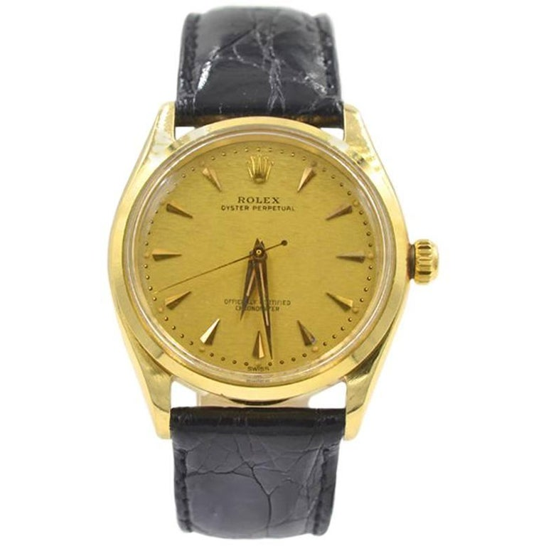 Rolex Yellow Gold Oyster Perpetual Wristwatch Ref 6567, circa 1959