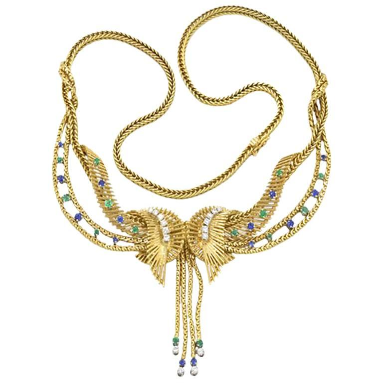 Carl Bucherer Retro Necklace Emerald Sapphire Diamond