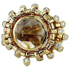 7.01 Carat Topaz Briollete and Diamond Ring