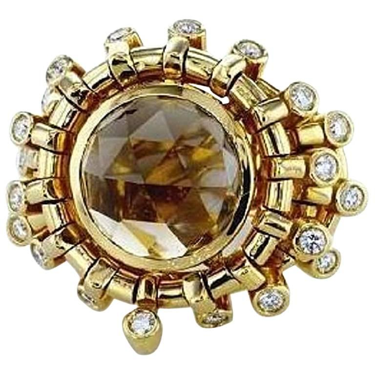 7.01 Carat Topaz Briollete and Diamond Ring