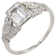 GIA 0.94 Carat D-VS1 Emerald Cut Art Deco Engagement Ring