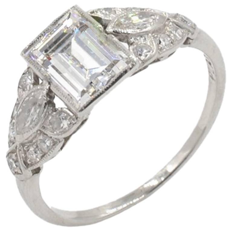GIA 0.94 Carat D-VS1 Emerald Cut Art Deco Engagement Ring
