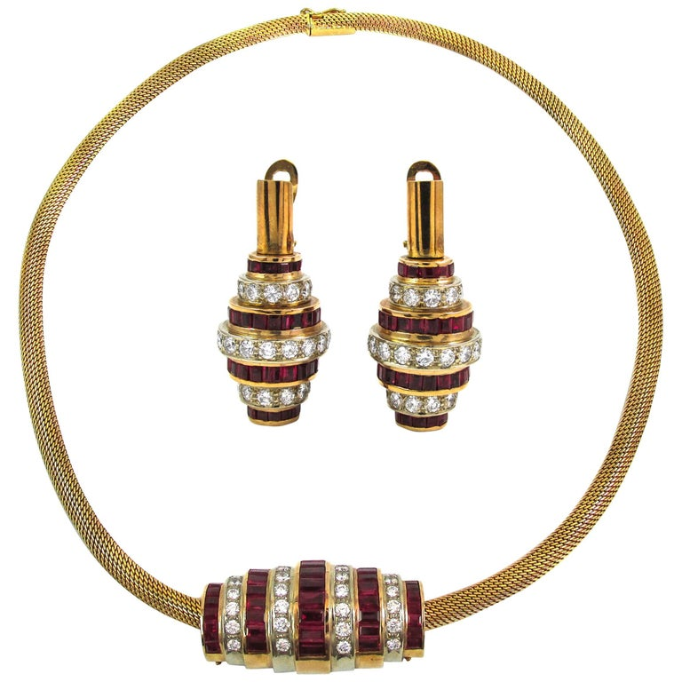Ruby Diamond Gold Earring and Necklace Suite