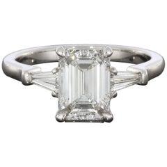 2.25 Carat Emerald and Baguette Platinum Diamond Engagement Ring