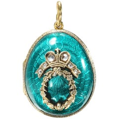 Russian Egg Diamond and Vermeil Enamel Pendant