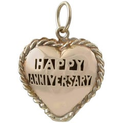 Gold Happy Anniversary Puffed Heart Charm