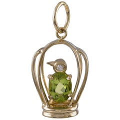 Gold and Peridot Penguin in a Cage Charm