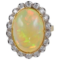 10.0 Carat Natural Opal 1.10 Carat G VVS Diamond Vintage Ring
