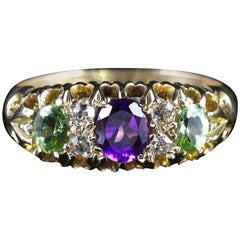Antique Suffragette Ring 18 Carat Amethyst Diamond Peridot, circa 1900
