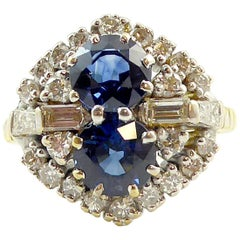Vintage Sapphire and Diamond Cluster Dress Ring, Hallmarked 1991
