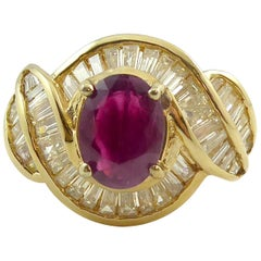 Vintage Ruby Diamond Cocktail Ring, circa 1980s