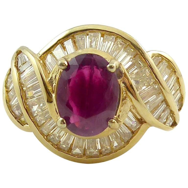 Vintage Ruby Diamond Cocktail Ring, circa 1980s