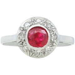 1920s Ruby and Diamond White Gold Cluster Ring