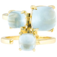 Jona Aquamarine Yellow Gold Band Ring