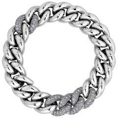 Pomellato Gourmette Diamond Gold Link Bracelet