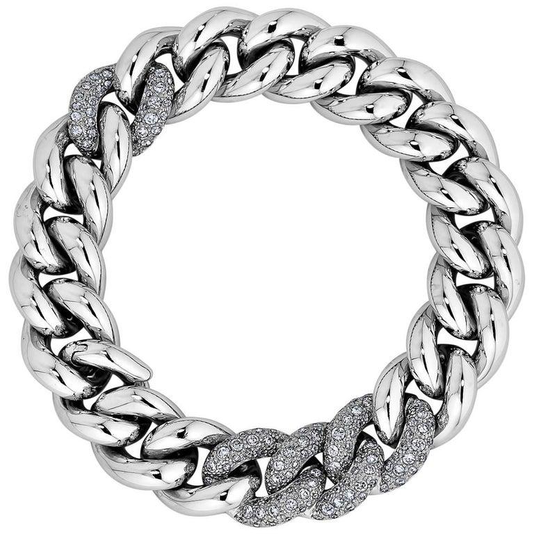 Vintage Pomellato Gourmette Diamond Gold Link Bracelet