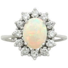 Vintage 1960s 1.26 Carat Opal and Diamond White Gold Cluster Ring