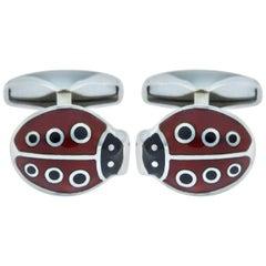 Jona Enamel Sterling Silver Ladybug Cufflinks