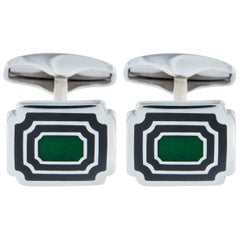 Jona Sterling Silver Blue Green Enamel Rectangular Cufflinks
