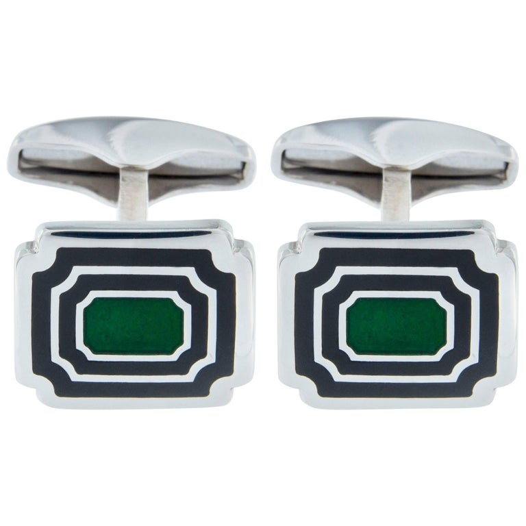 Jona Sterling Silver Blue Green Enamel Rectangular Cufflinks
